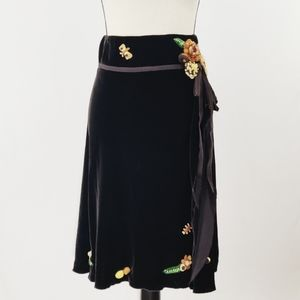 Moschino Velvet Brown Skirt with crochet accents.